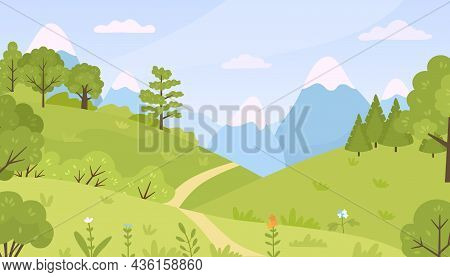 Flat Forest With Meadow, Trees, Bushes And Mountains Landscape. Cartoon Spring Green Hills Nature Wi