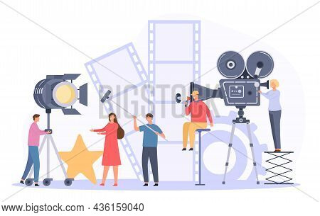 Movie Production Team Shooting Film Actor On Camera. Flat Cinema Director And Crew Record Video Scen
