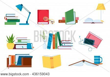 Reading Literature, Flat Book Stacks And Piles For Study. Open And Closed Books With Lamp. Bookstore