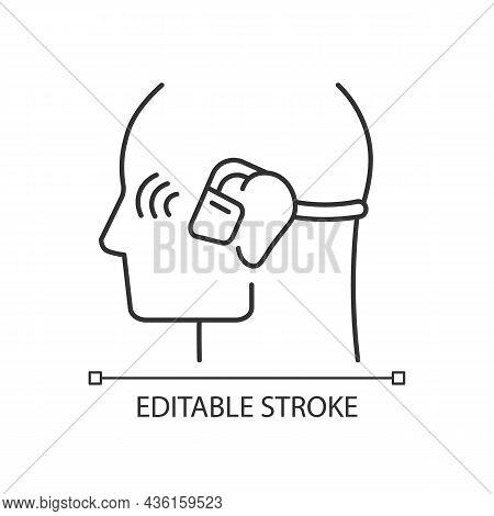 Open Ear Wireless Headphones Linear Icon. Bone Conduction Earphones. Wireless Connection To Phone. T