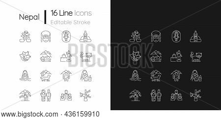 Nepal Cultural Heritage Linear Icons Set For Dark And Light Mode. Religious Festivals. Tourist Attra