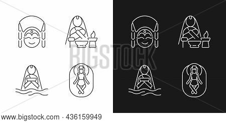 Nepal Spiritual Heritage Linear Icons Set For Dark And Light Mode. Kumari Living Goddess. Baby Namin