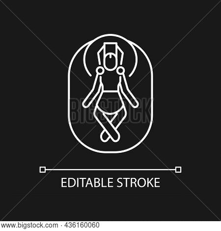 Budhanilkantha Temple White Linear Icon For Dark Theme. God Vishnu Shrine. Stone Statue In Nepal. Th