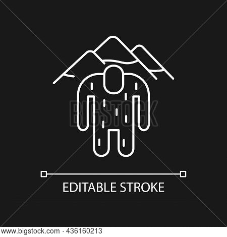 Yeti White Linear Icon For Dark Theme. Hairy Mountain Ape-like Creature. Nepali Folklore. Thin Line