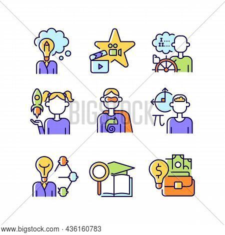 Vocation Rgb Color Icons Set. Professional And Educational Abilities. Networking And Entrepreneurshi