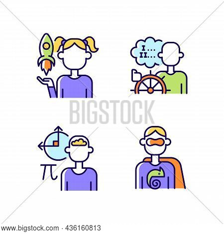 Kids Talents Rgb Color Icons Set. Personal Development. Creative Talents. Mathematical Intelligence.