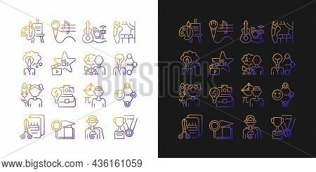 Talents And Aptitudes Gradient Icons Set For Dark And Light Mode. Skills And Intelligence. Thin Line