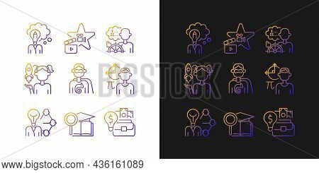 Vocation Gradient Icons Set For Dark And Light Mode. Professional And Educational Abilities. Thin Li