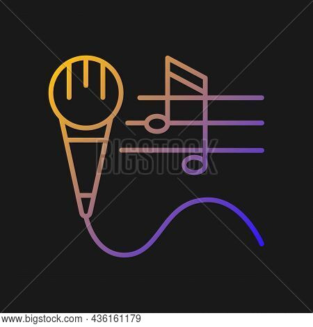 Talent For Singing Gradient Vector Icon For Dark Theme. Vocal Lessons And Training. Performing Song