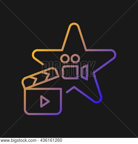 Actors Talent Gradient Vector Icon For Dark Theme. Gifted Actress And Actor. Theater Rehearsal. Hobb