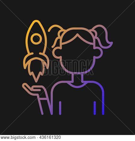 Fostering Kids Creativity Gradient Vector Icon For Dark Theme. Teach And Encourage Children. Kids Im
