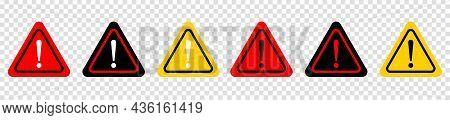 Set Of Attention Caution Danger Sign. Triangular Warning Symbols Icon Set. Vector Illustration Isola