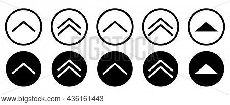 Swipe Up Icon Set. Line Art Style. Can Use For Web And Mobile App Design. Vector Buttons Isolated Wh