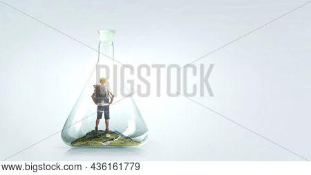 Young traveler inside glass bottle . Mixed media