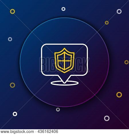 Line Location Shield Icon Isolated On Blue Background. Insurance Concept. Guard Sign. Security, Safe