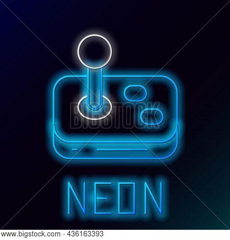 Glowing Neon Line Joystick For Arcade Machine Icon Isolated On Black Background. Joystick Gamepad. C