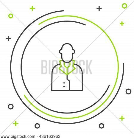 Line Realtor Icon Isolated On White Background. Buying House. Colorful Outline Concept. Vector