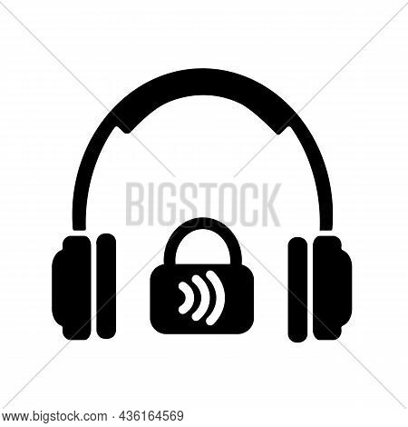 Closed Back Headphones Black Glyph Icon. Over Ear Headset For Music Making And Gaming. Outside Noise