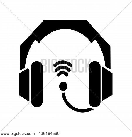 Gaming Headset Black Glyph Icon. Earphones And Microphone Kit. E Sports Equipment. Headphones Connec