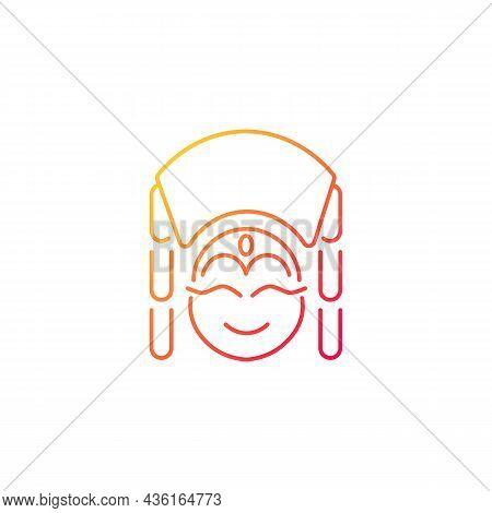 Kumari Gradient Linear Vector Icon. Living Hindu Goddess Worshipped By Buddhists. Girl In Traditiona