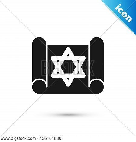 Grey Torah Scroll Icon Isolated On White Background. Jewish Torah In Expanded Form. Star Of David Sy