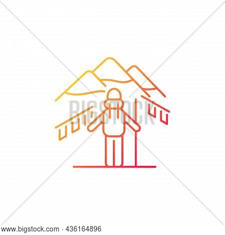 Trekking In Nepal Gradient Linear Vector Icon. Mountaineering Destination. Hiking Through Himalayas.