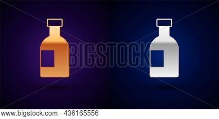 Gold And Silver Glass Bottle Of Vodka Icon Isolated On Black Background. Vector