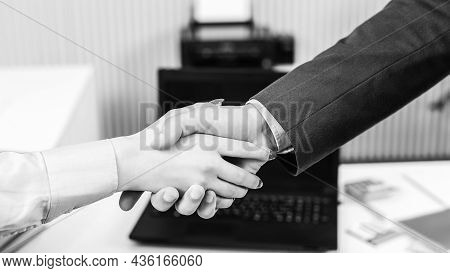 Business People Making Handshake. Business Etiquette, Congratulation, Merger And Acquisition Concept