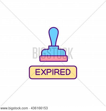 Expired Notification Stamp Rgb Color Icon. Denied Visa. Rejection On Entry Pass. Permission Document
