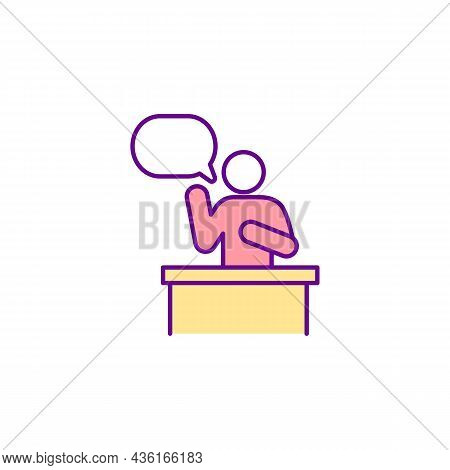 Public Speaking Rgb Color Icon. Person Talking On Stand. Judicial Hearing On Personal Case. Presiden