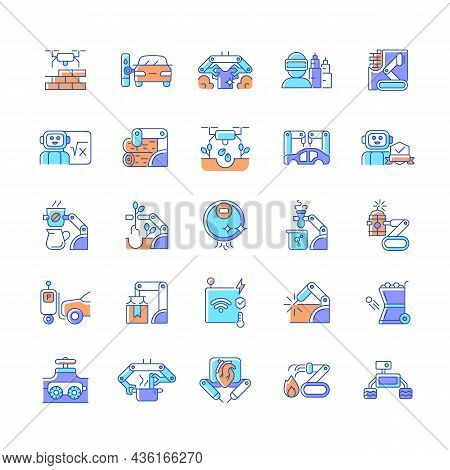 Automation Rgb Color Icons Set. Advanced Manufacturing. Improve Everyday Life. Using Robotic Hands.