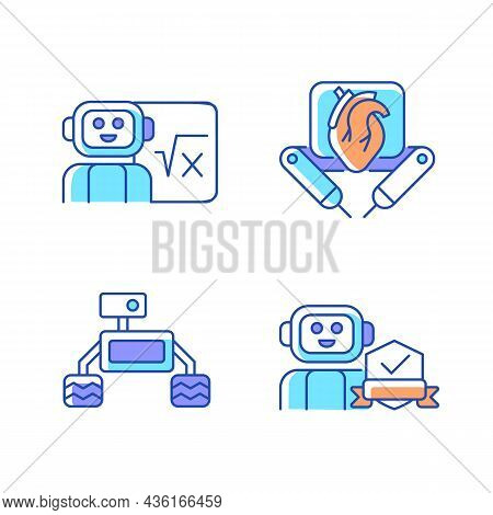 Robotics Technology Rgb Color Icons Set. Surgical Robot. Robotic Vehicle. Home Safety. Artificial In