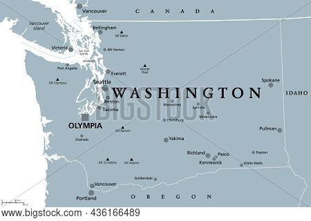 Washington, Wa, Gray Political Map, With Capital Olympia. State In The Pacific Northwest Region Of T
