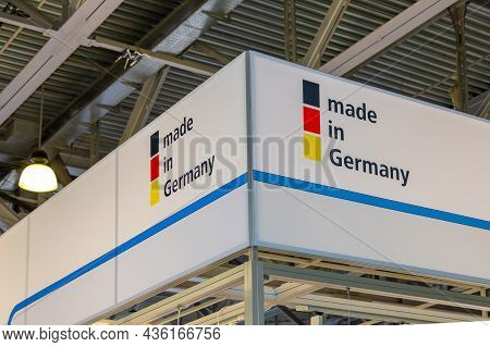 Sign Made In Germany At The Exhibition Stand In The Exhibition Hall. Bottom View