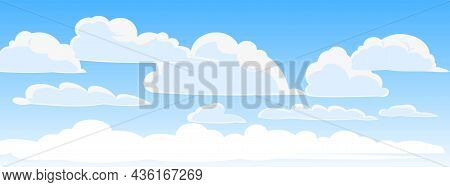 Sky Clouds Vector. Illustration In Cartoon Style Flat Design. Heavenly Atmosphere. Vector.