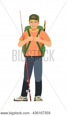 Fisherman. With A Fishing Rod And A Backpack. Ready And Equipped. Middle Aged Man Character Person.