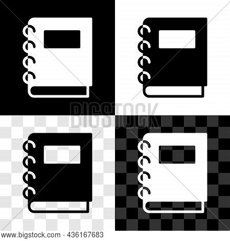 Set Notebook Icon Isolated On Black And White, Transparent Background. Spiral Notepad Icon. School N