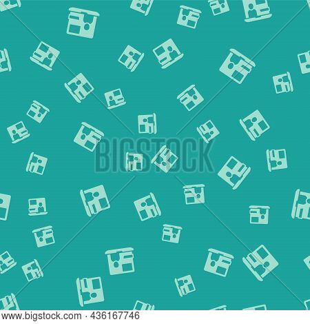 Green World News Icon Isolated Seamless Pattern On Green Background. Breaking News, World News Tv. V