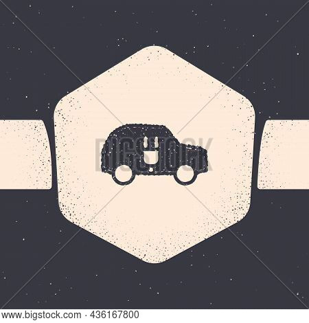 Grunge Electric Car And Electrical Cable Plug Charging Icon Isolated On Grey Background. Renewable E
