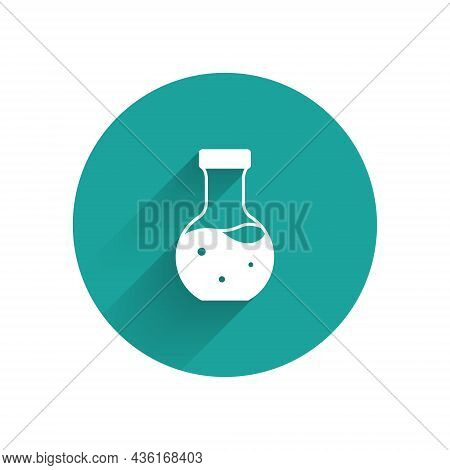White Test Tube And Flask Chemical Laboratory Test Icon Isolated With Long Shadow Background. Labora