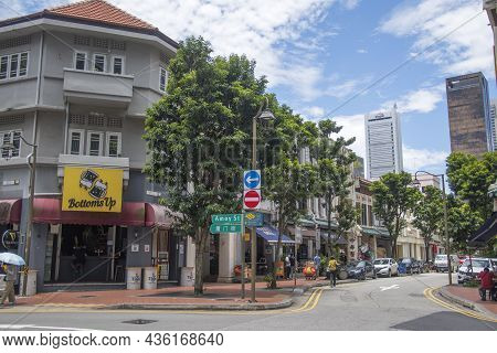Singapore- 11 Oct, 2021: Street View Of Amoy Street In Singapore. Amoy Street Was Initially Listed A