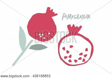 Childish Cute Pomegranate With Leaf Hand Drawn Sketch Isolated On White Background. Whole Fruit And