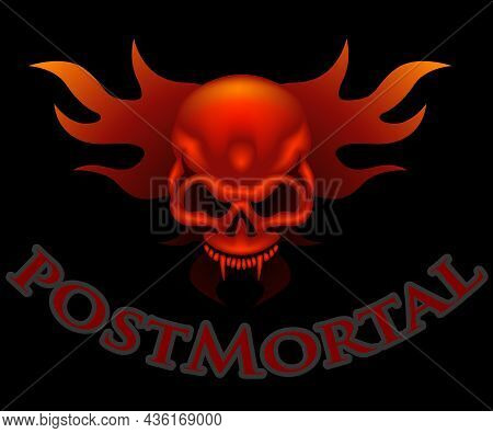 Skull With Flames And Post Mortal Text - Colored Illustration Isolated On Black Background, Vector