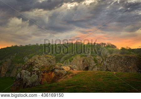 mountain landscape with some of the oldest limestone rock formations in Europe in Dobrogea Gorges, Cheile Dobrogei, Romania
