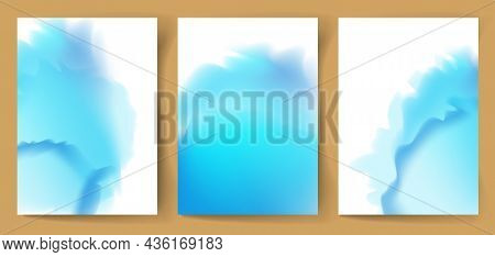 A Set Of Watercolor Backgrounds With A Place For Text.  Vector Illustration