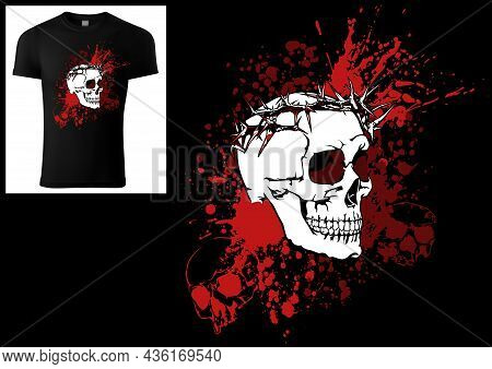 Design Of A T-shirt Skull With A Crown Of Thorns On A Bloody Ink Smudge - Colored Illustration Isola