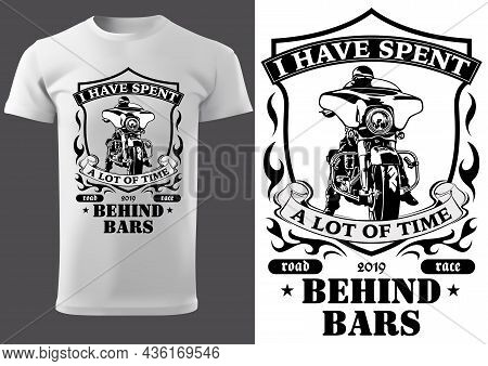 White T-shirt Design With Motorcyclist And Inscriptions - Graphic Design For Printmaking T-shirt Or