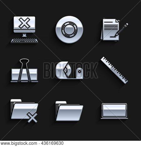 Set Scotch, Document Folder, Laptop, Ruler, Delete, Binder Clip, Blank Notebook And Pencil With Eras