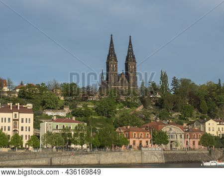 View Of Historical Fort Vysehrad With Basilica Of St. Peter And Paul, Gothic Cathedral Church On Gre