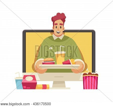 Cartoon Icon With Happy Male Blogger Holding Tray With Fast Food Vector Illustration